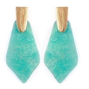 🌞SUMMER SALE🌞 Aqua petal acetate earrings